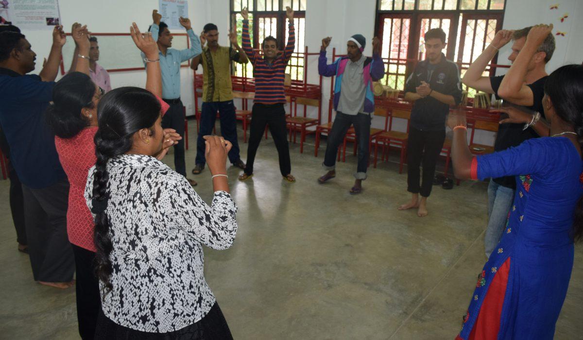 Rhythm lessons at Global Music Campus in Sri Lanka