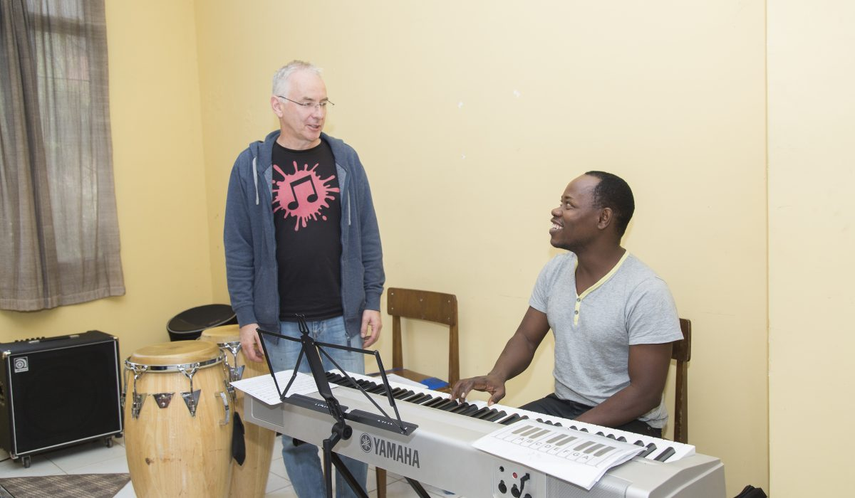 Martin Lillich giving a lesson at the East African Global Music Campus
